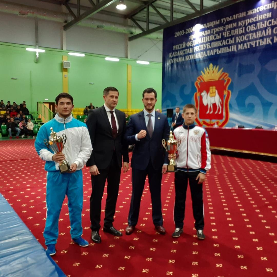 Матчевая встреча сборных команд Челябинской и Костанайской областей по греко-римской борьбе